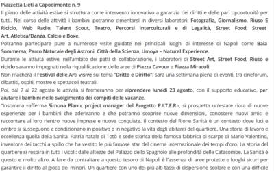 Per i bambini del Rione Sanità di Napoli, aperte iscrizioni attività estive progetto P.I.T.E.R.