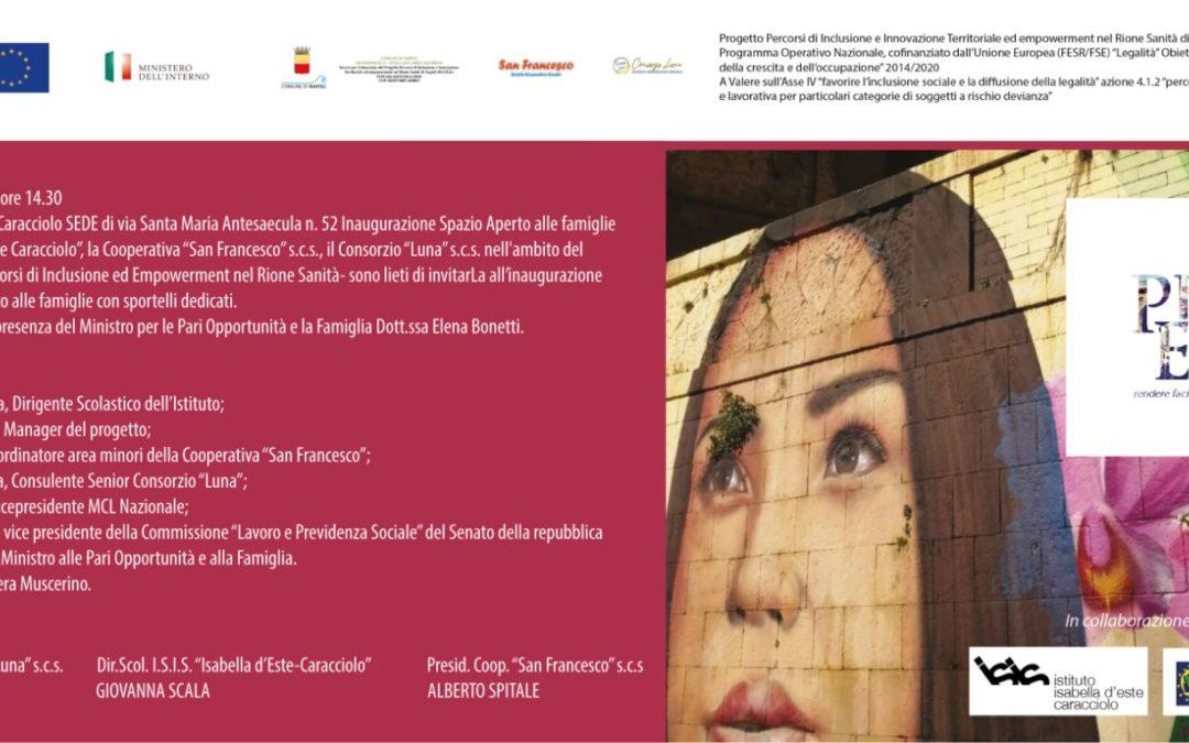 """LA MINISTRA PER LA FAMIGLIA E PARI OPPORTUNITÀ, ELENA BONETTI, LUNEDÌ 20 SETTEMBRE, INAUGURA LO """"SPAZIO FAMIGLIE"""" DEL RIONE SANITA', APERTO IN SENO AL PROGETTO P.I.T.E.R. NEL PLESSO SCOLASTICO DI VIA SANTA MARIA ANTESAECULA N. 52 DELL'I.S.I.S. """"ISABELLA D'ESTE CARACCIOLO"""" DI NAPOLI"""